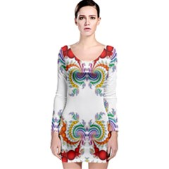 Fractal Kaleidoscope Of A Dragon Head Long Sleeve Bodycon Dress