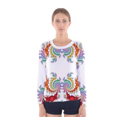 Fractal Kaleidoscope Of A Dragon Head Women s Long Sleeve Tee