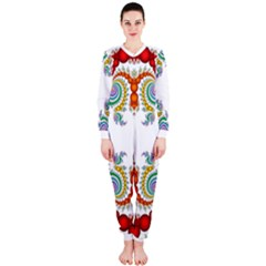 Fractal Kaleidoscope Of A Dragon Head Onepiece Jumpsuit (ladies)