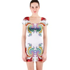 Fractal Kaleidoscope Of A Dragon Head Short Sleeve Bodycon Dress