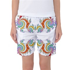 Fractal Kaleidoscope Of A Dragon Head Women s Basketball Shorts