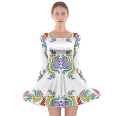 Fractal Kaleidoscope Of A Dragon Head Long Sleeve Skater Dress