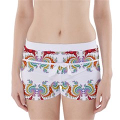 Fractal Kaleidoscope Of A Dragon Head Boyleg Bikini Wrap Bottoms