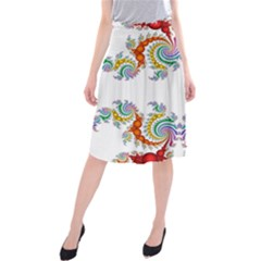 Fractal Kaleidoscope Of A Dragon Head Midi Beach Skirt