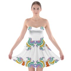 Fractal Kaleidoscope Of A Dragon Head Strapless Bra Top Dress