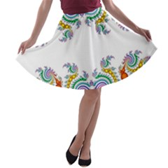 Fractal Kaleidoscope Of A Dragon Head A Line Skater Skirt
