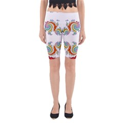 Fractal Kaleidoscope Of A Dragon Head Yoga Cropped Leggings