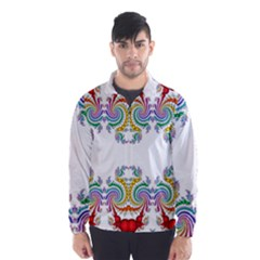 Fractal Kaleidoscope Of A Dragon Head Wind Breaker (Men)