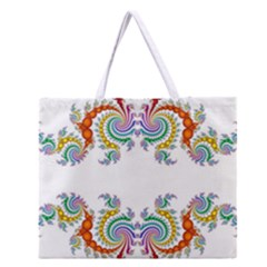 Fractal Kaleidoscope Of A Dragon Head Zipper Large Tote Bag