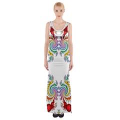Fractal Kaleidoscope Of A Dragon Head Maxi Thigh Split Dress