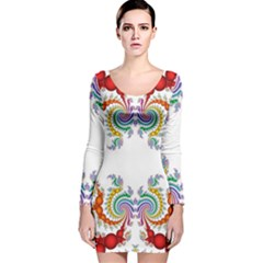 Fractal Kaleidoscope Of A Dragon Head Long Sleeve Velvet Bodycon Dress