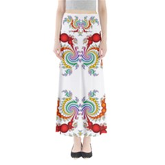 Fractal Kaleidoscope Of A Dragon Head Maxi Skirts