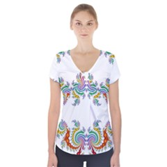 Fractal Kaleidoscope Of A Dragon Head Short Sleeve Front Detail Top