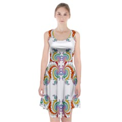 Fractal Kaleidoscope Of A Dragon Head Racerback Midi Dress