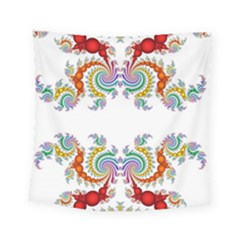 Fractal Kaleidoscope Of A Dragon Head Square Tapestry (small)