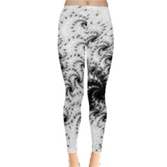 Fractal Black Spiral On White Leggings