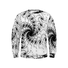 Fractal Black Spiral On White Kids  Sweatshirt