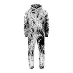 Fractal Black Spiral On White Hooded Jumpsuit (Kids)