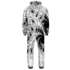 Fractal Black Spiral On White Hooded Jumpsuit (men)
