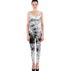 Fractal Black Spiral On White Onepiece Catsuit