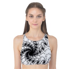 Fractal Black Spiral On White Tank Bikini Top