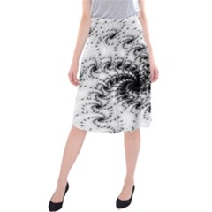 Fractal Black Spiral On White Midi Beach Skirt