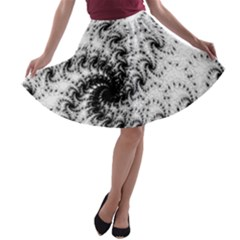 Fractal Black Spiral On White A Line Skater Skirt