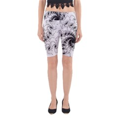 Fractal Black Spiral On White Yoga Cropped Leggings