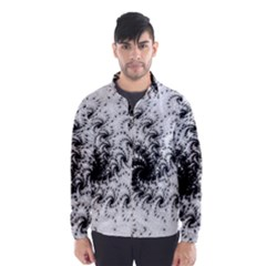 Fractal Black Spiral On White Wind Breaker (Men)