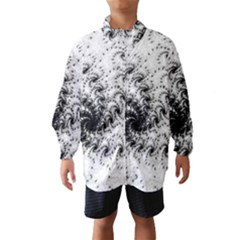 Fractal Black Spiral On White Wind Breaker (kids)