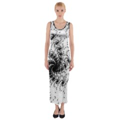 Fractal Black Spiral On White Fitted Maxi Dress
