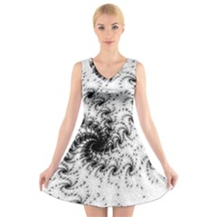 Fractal Black Spiral On White V Neck Sleeveless Skater Dress