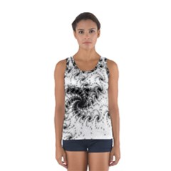 Fractal Black Spiral On White Women s Sport Tank Top