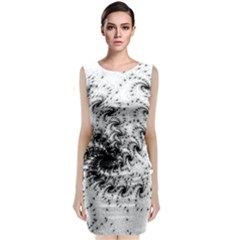 Fractal Black Spiral On White Classic Sleeveless Midi Dress