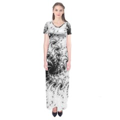 Fractal Black Spiral On White Short Sleeve Maxi Dress