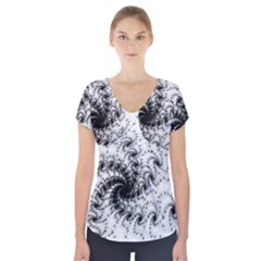 Fractal Black Spiral On White Short Sleeve Front Detail Top
