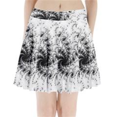 Fractal Black Spiral On White Pleated Mini Skirt