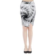 Fractal Black Spiral On White Midi Wrap Pencil Skirt