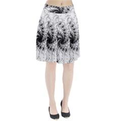 Fractal Black Spiral On White Pleated Skirt