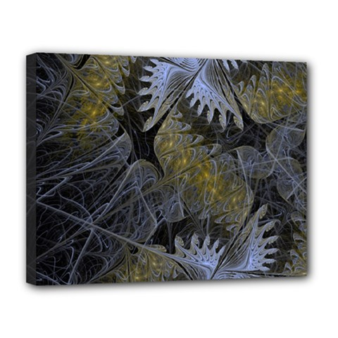 Fractal Wallpaper With Blue Flowers Canvas 14  x 11
