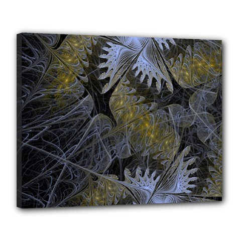 Fractal Wallpaper With Blue Flowers Canvas 20  X 16