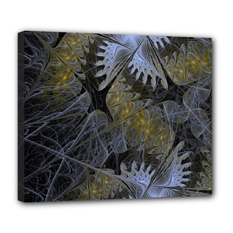 Fractal Wallpaper With Blue Flowers Deluxe Canvas 24  x 20