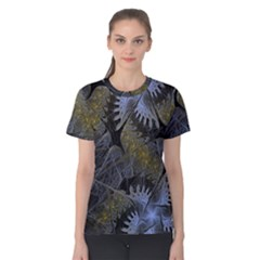 Fractal Wallpaper With Blue Flowers Women s Cotton Tee