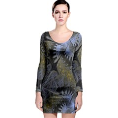 Fractal Wallpaper With Blue Flowers Long Sleeve Bodycon Dress