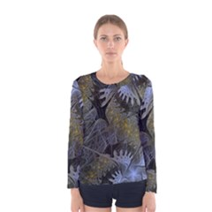 Fractal Wallpaper With Blue Flowers Women s Long Sleeve Tee