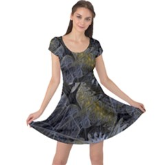Fractal Wallpaper With Blue Flowers Cap Sleeve Dresses