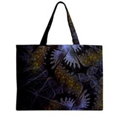 Fractal Wallpaper With Blue Flowers Zipper Mini Tote Bag