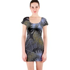 Fractal Wallpaper With Blue Flowers Short Sleeve Bodycon Dress