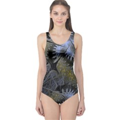 Fractal Wallpaper With Blue Flowers One Piece Swimsuit