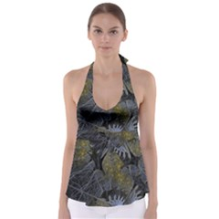 Fractal Wallpaper With Blue Flowers Babydoll Tankini Top